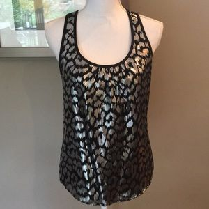 Trina Turk Black and Silver Animal Print Top